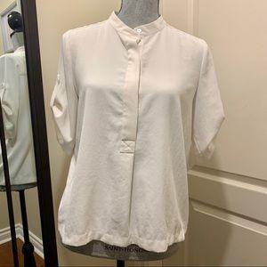 Vince classic white half button high neck blouse
